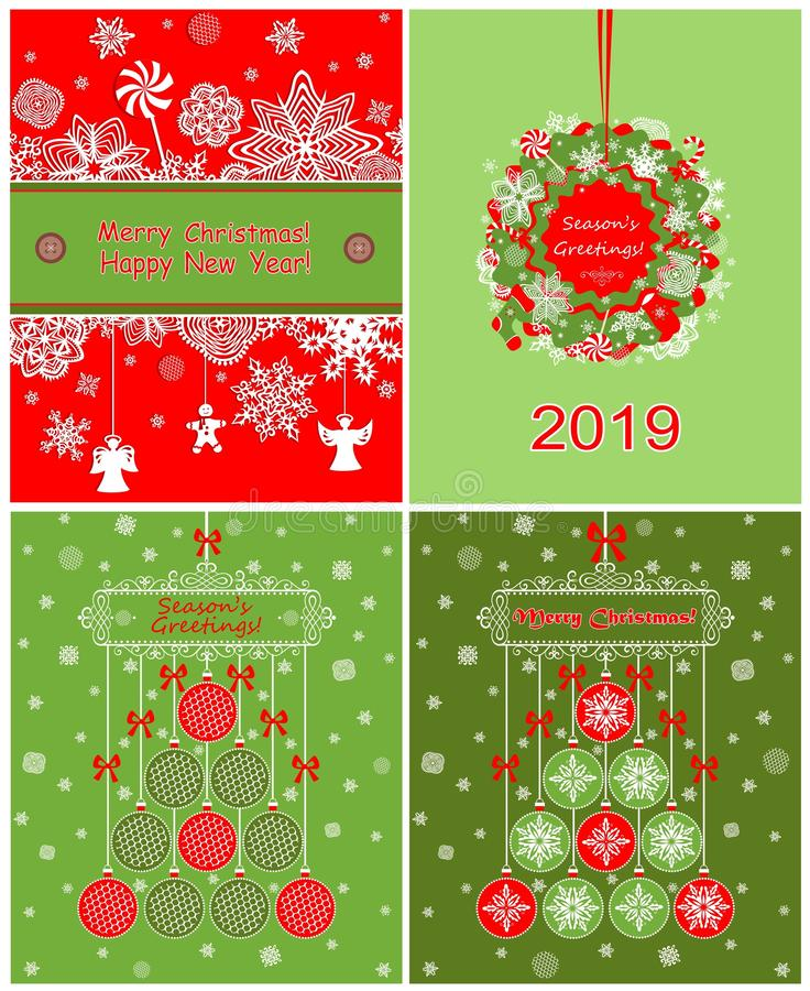 Decoratieve kaarten van inzamelings de rode en groene Kerstmis met document applique royalty-vrije illustratie