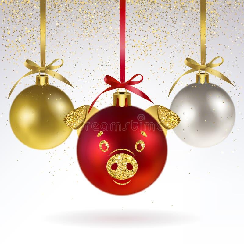 Decoratieve Kerstmisballen met Gestileerd Varkensgezicht stock illustratie