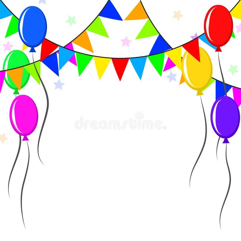Decoratieve kleurrijke ballons en wimpels over witte achtergrond royalty-vrije illustratie