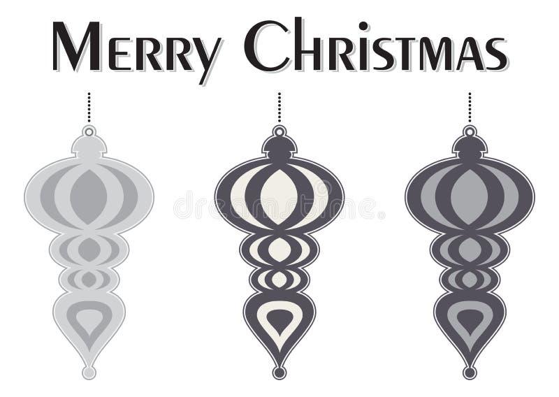 Decoratieve Kleurrijke Kerstboomornamenten stock illustratie
