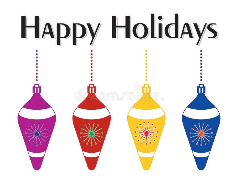 Decoratieve Kleurrijke Kerstboomornamenten royalty-vrije illustratie
