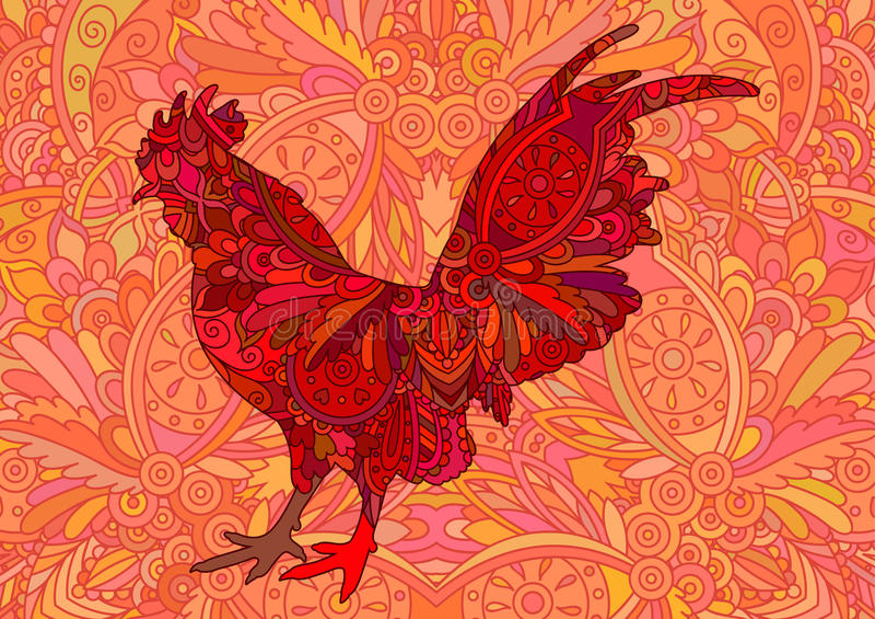 Decoratieve kleurrijke rode haan vector illustratie