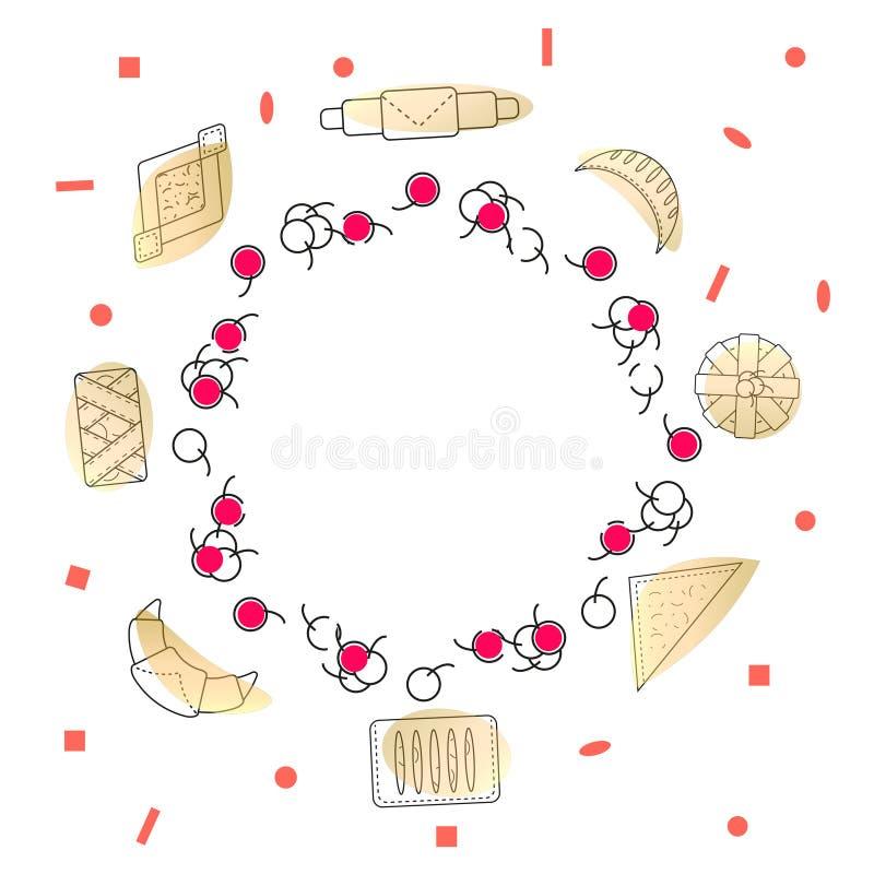 Decoratieve kroon van gebakjekersen en verse gebakjes en broodjes Reeks bakkerij en banketbakkerswerken in overzichtsstijl op wit royalty-vrije illustratie