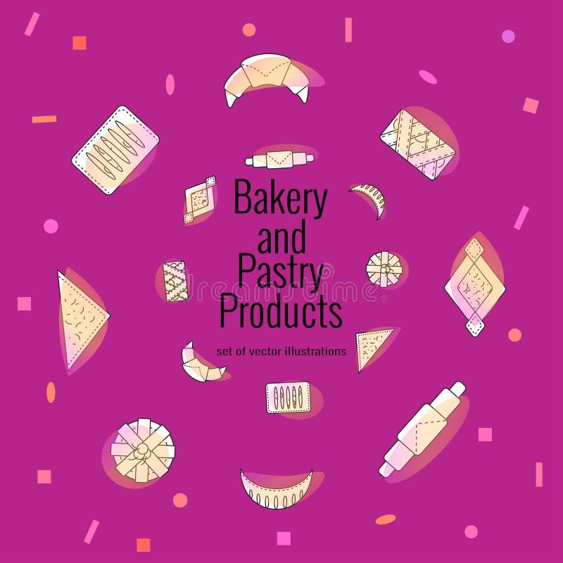Decoratieve kroon van verse gebakjes en broodjes Reeks bakkerij en banketbakkerswerken in overzichtsstijl op ultraviolette achter royalty-vrije illustratie