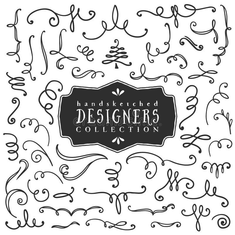 Decoratieve krullen en wervelingen Ontwerpersinzameling vector illustratie