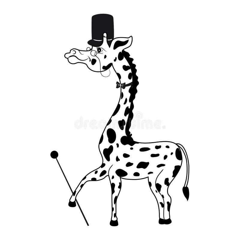 Decoratieve leuke grappige tellingsgiraf met cilinder, band, riet, vectordie de jonge geitjesillustratie van het glazenbeeldverha stock illustratie