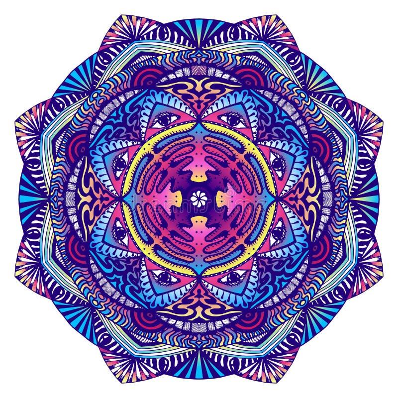 Decoratieve mandala met een alle-ziet oog in donkere kleuren royalty-vrije illustratie