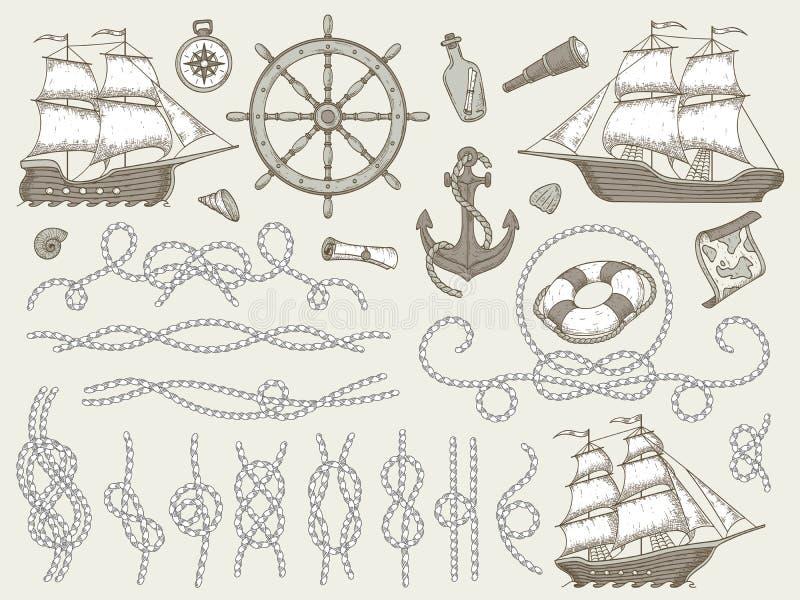 Decoratieve mariene elementen Overzeese kabelkaders, varende boot of nautic schipstuurwiel en zeevaartkabelshoeken stock illustratie