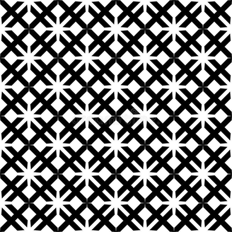 Decoratieve Naadloze Bloemen Geometrische Zwarte & Witte Patroonachtergrond vector illustratie