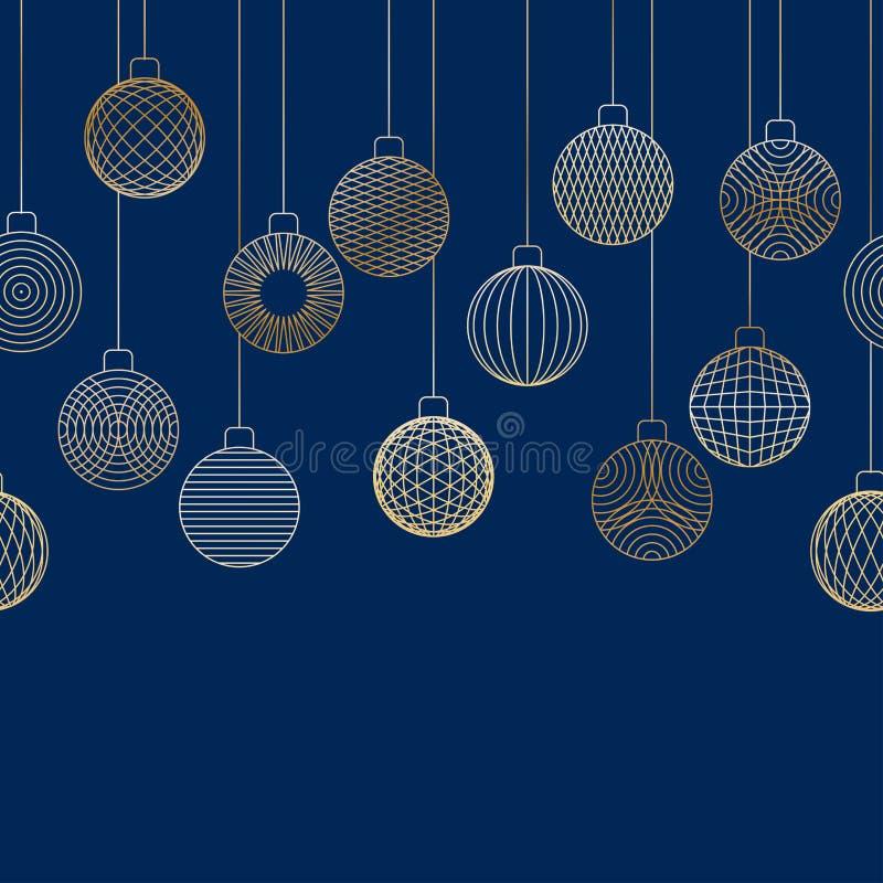 Decoratieve naadloze die grens van het gouden speelgoed van de Kerstmisbal wordt gemaakt stock illustratie