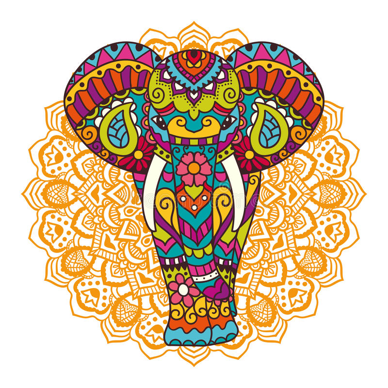 Decoratieve Olifantsillustratie vector illustratie