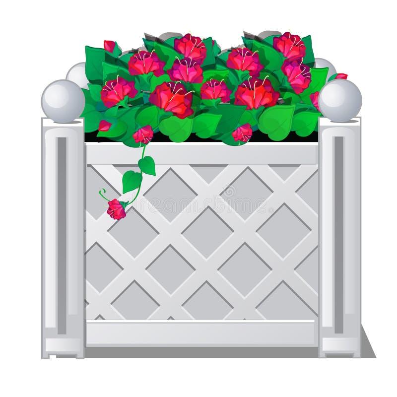 Decoratieve omheining met rode bloemen Vector illustratie vector illustratie