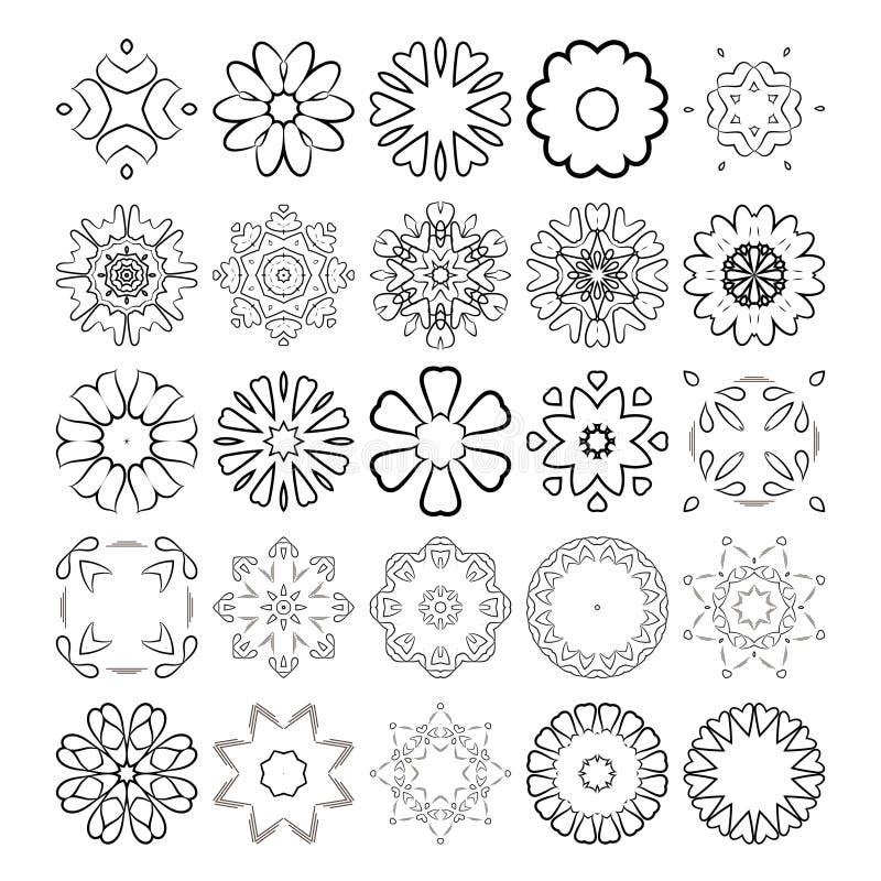 Decoratieve ontwerpelementen Cirkel ornament Beeldverhaal polair met harten royalty-vrije illustratie