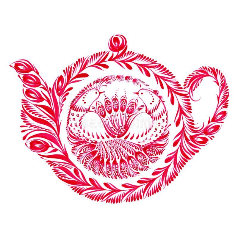 Decoratieve ornamenttheepot royalty-vrije illustratie