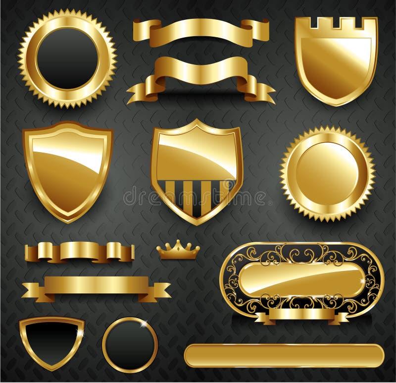 Decoratieve overladen gouden frame inzameling stock illustratie