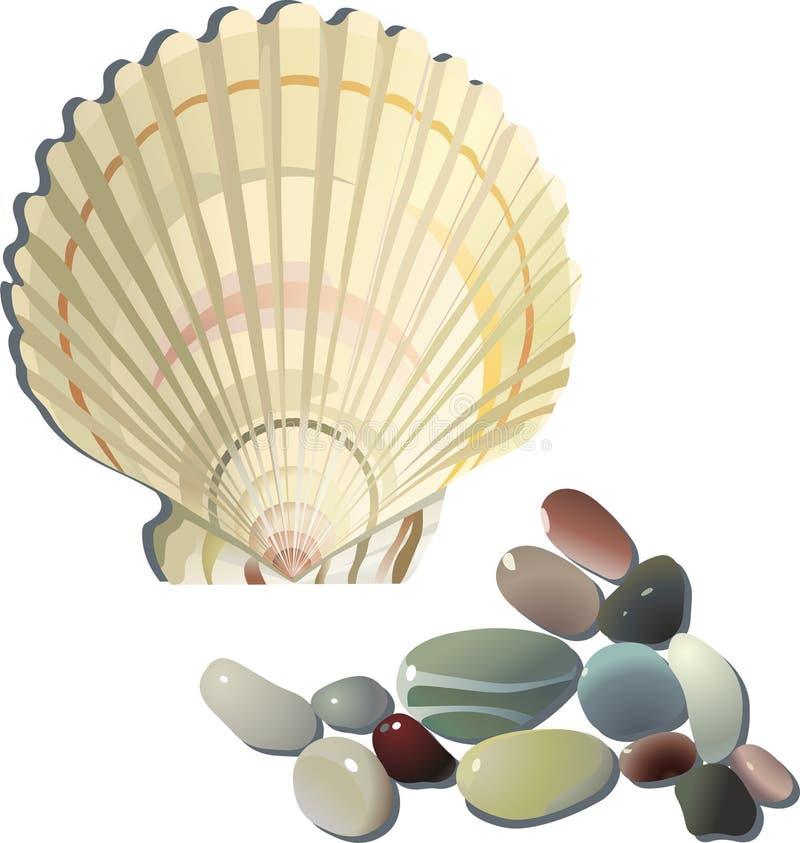 decoratieve overzeese shell en stenen royalty-vrije stock afbeelding