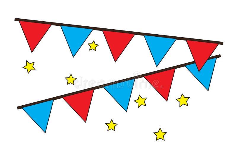 Decoratieve partijvlaggen die met de vector van sterrenpictogrammen hangen stock illustratie
