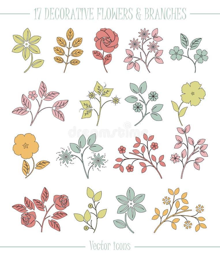 Decoratieve pictogrammen met bloemen royalty-vrije illustratie