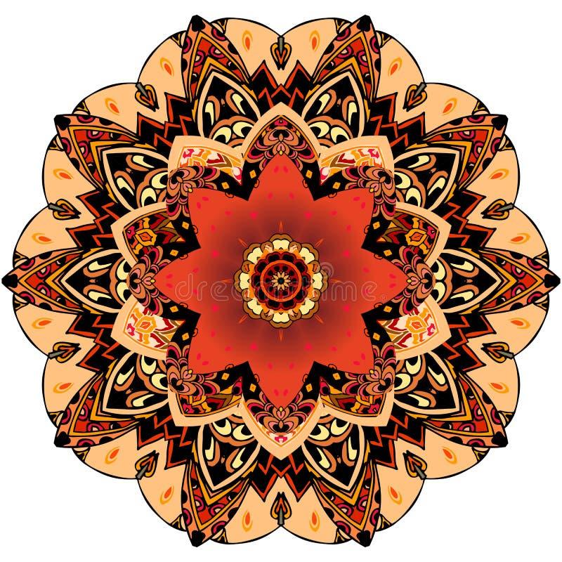 Decoratieve plaat met rode tulp en rond ornament in etnische stijl Het patroon van de Mandalabloem Mooie inzameling stock illustratie