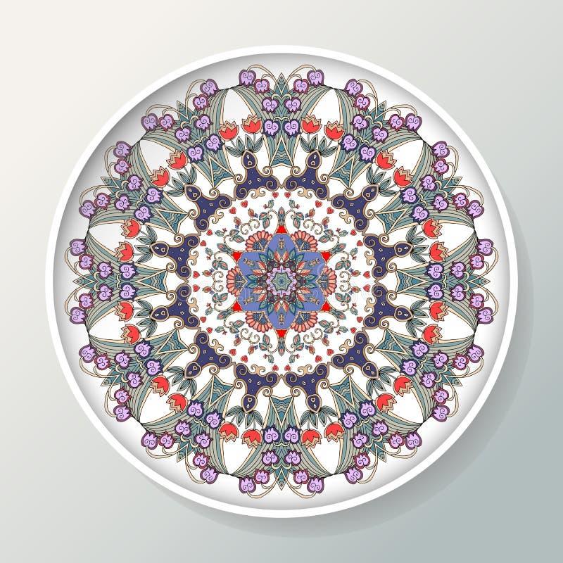 Decoratieve plaat Rond ornament met vogels, bloemen en bladeren Vector illustratie stock illustratie