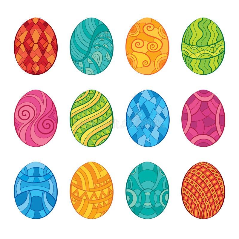 Decoratieve reeks paaseieren stock illustratie