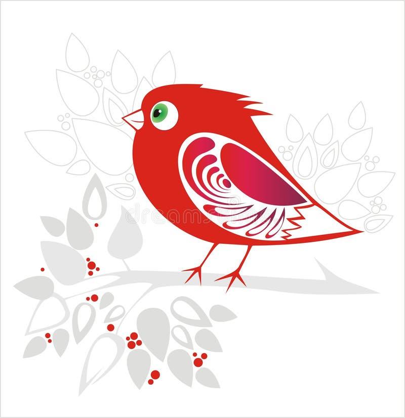 Decoratieve rode vogel stock illustratie