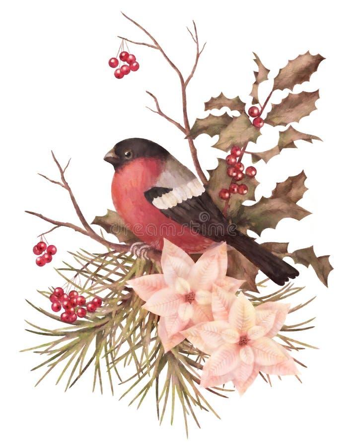 Decoratieve samenstelling van de Kerstmis retro waterverf royalty-vrije illustratie