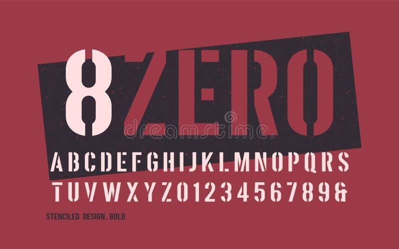 Decoratieve San serif van het Stenciled gewaagde gewicht Vector illustratie vector illustratie