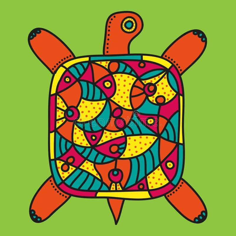 Decoratieve schildpad met helder kleurrijk ornament op een lichtgroene achtergrond vector illustratie