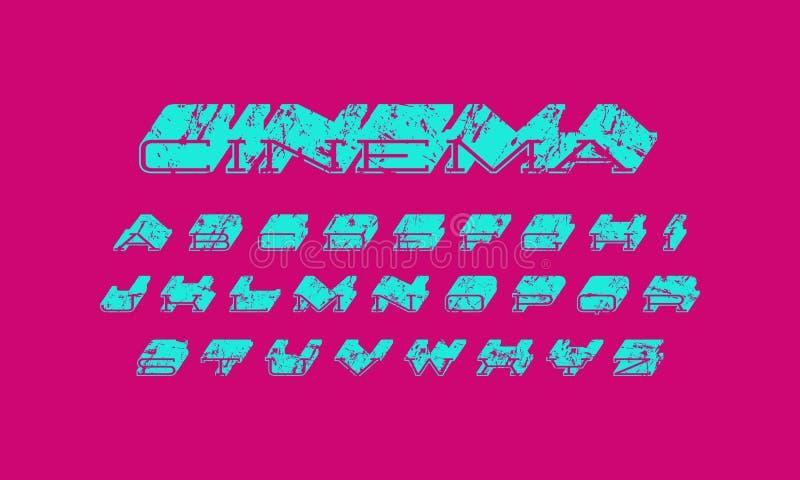Decoratieve serif extra massa uitgebreide doopvont vector illustratie