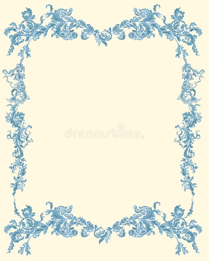 Decoratieve sier bloemenpagina blauwe kleur vector illustratie
