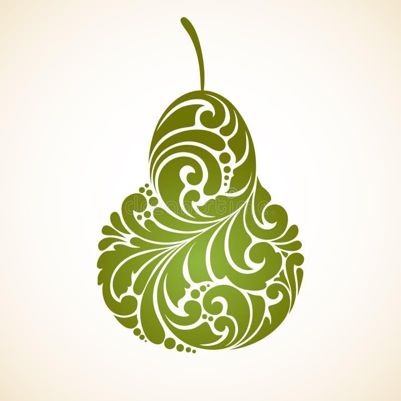 Decoratieve sier groene peer Vector abstract het ontwerpelement van het illustratieembleem stock illustratie