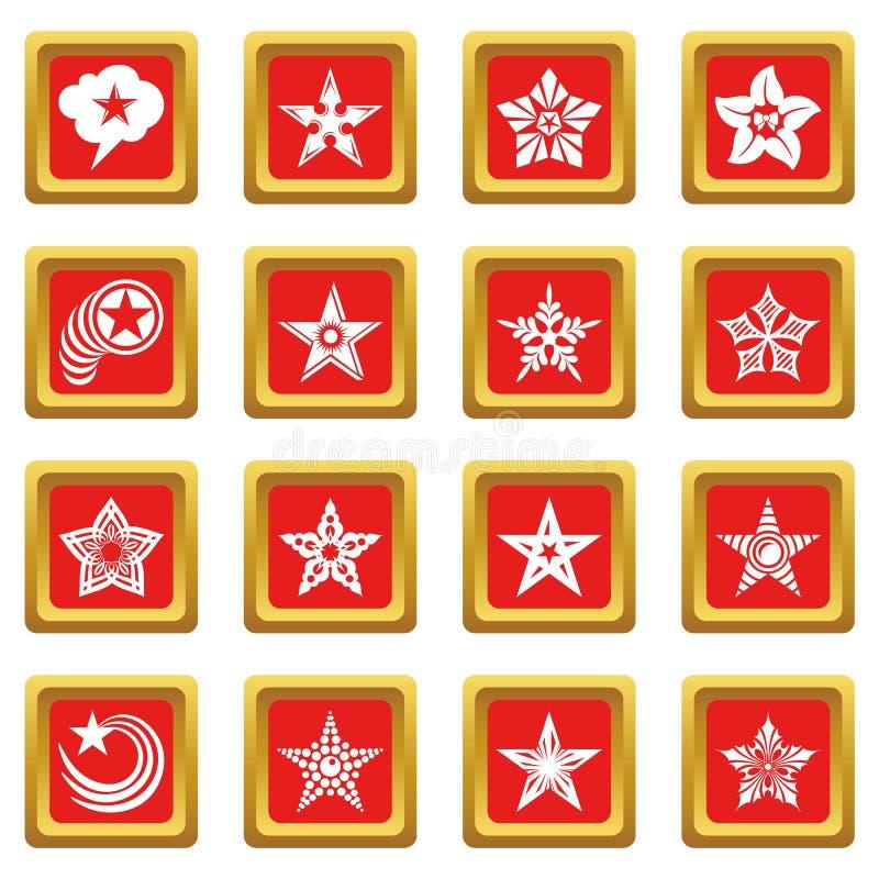 Download Decoratieve Sterrenpictogrammen Geplaatst Rode Vierkante Vector Vector Illustratie - Illustratie bestaande uit voorwerp, embleem: 114226701