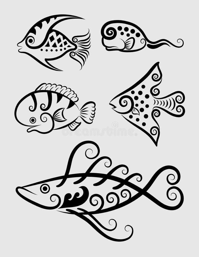 Download Decoratieve Symbolen 1 Van Vissen Vector Illustratie - Illustratie bestaande uit getrokken, inzameling: 29512751