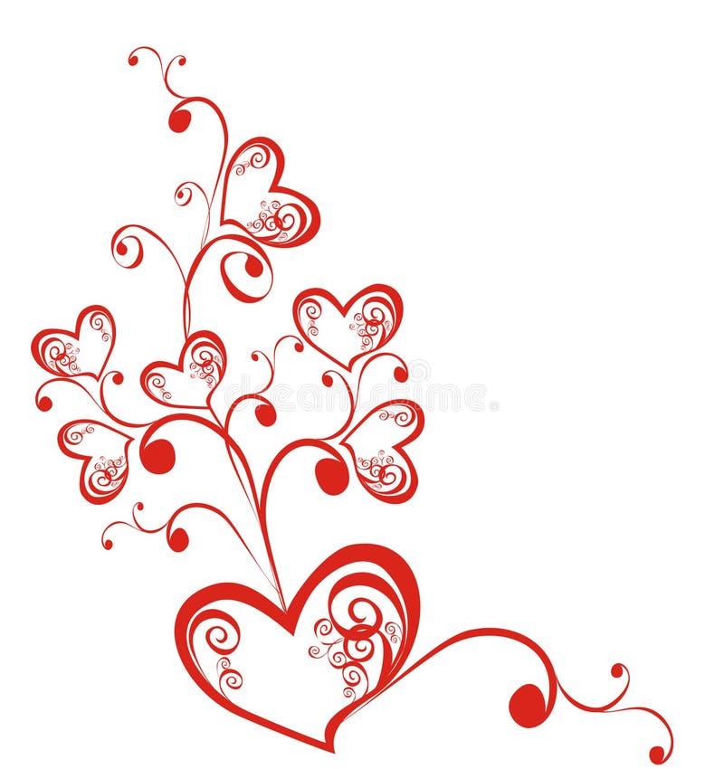 Decoratieve tak met harten stock illustratie