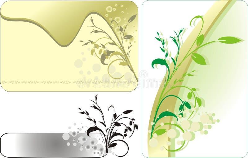 Decoratieve takjes. Drie kaarten stock illustratie