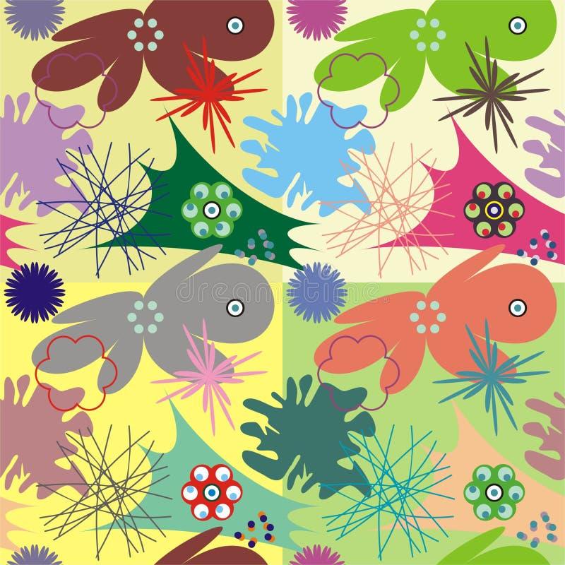 Decoratieve tegel met micro-organisme vector illustratie