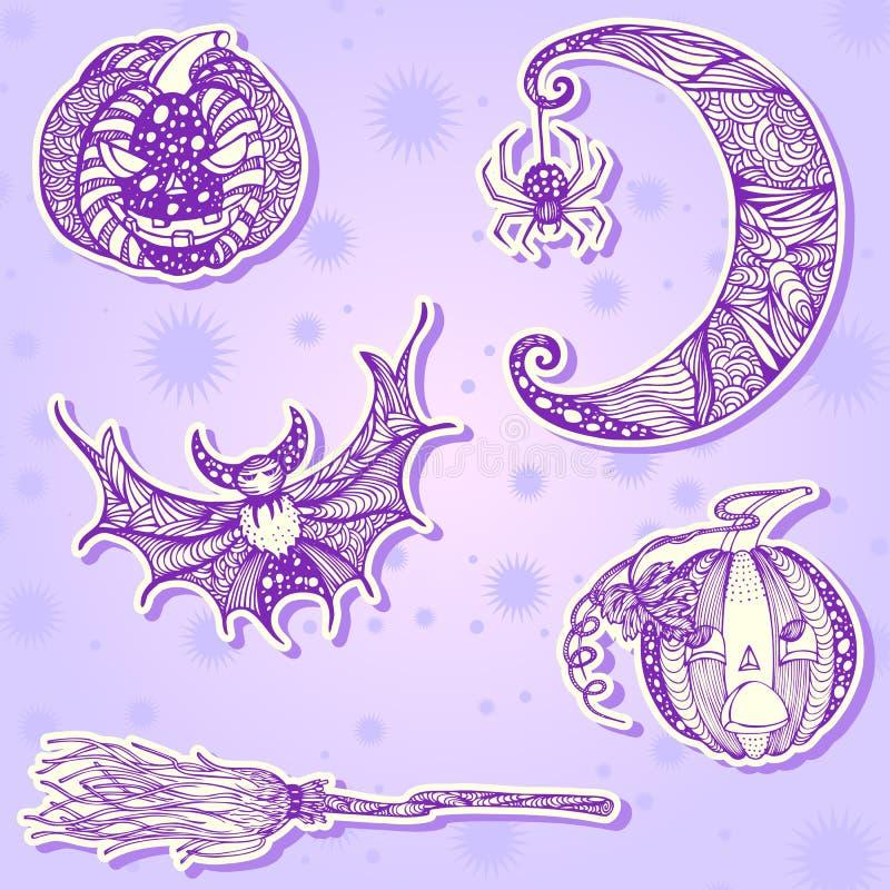 Decoratieve tekeningsstickers voor Halloween-deel 1 vector illustratie