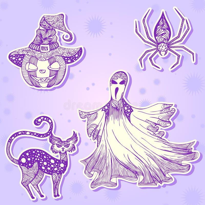 Decoratieve tekeningsstickers voor Halloween-deel 2 vector illustratie