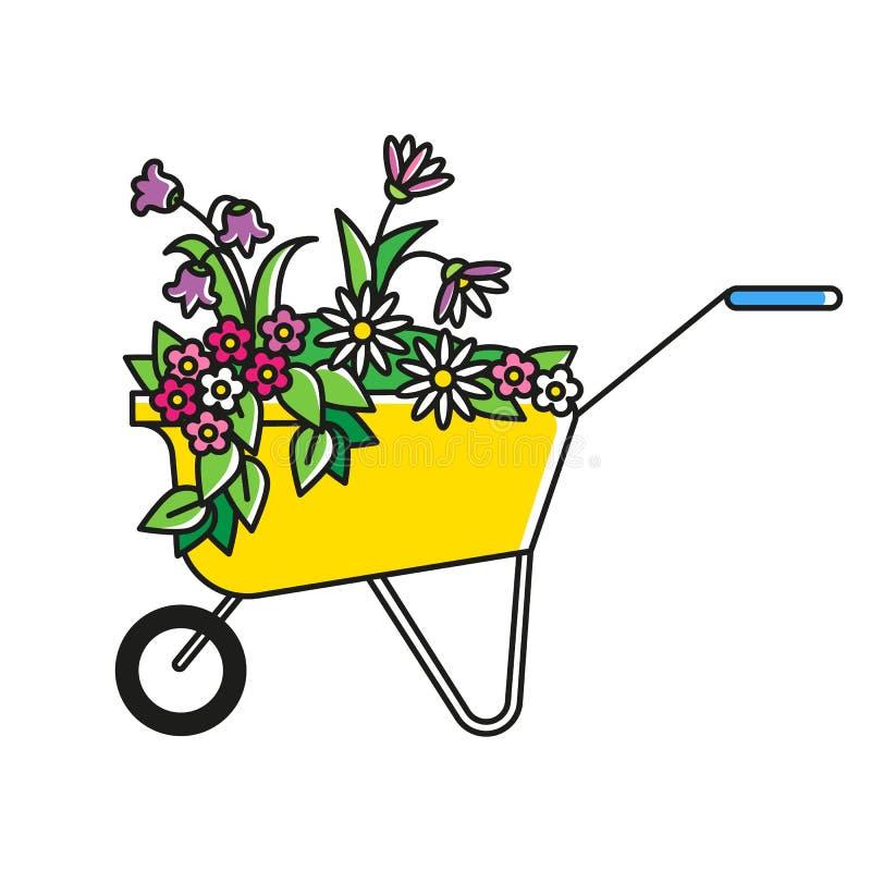 Decoratieve tuinkar met bloemen en bladeren Stootkar met Daisy, Viooltje, Astra en gras Mooi tuinsymbool royalty-vrije illustratie