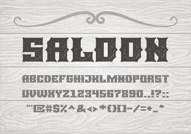 Decoratieve uitstekende gewaagde serif doopvont op de achtergrond van oude witte houten planken royalty-vrije illustratie