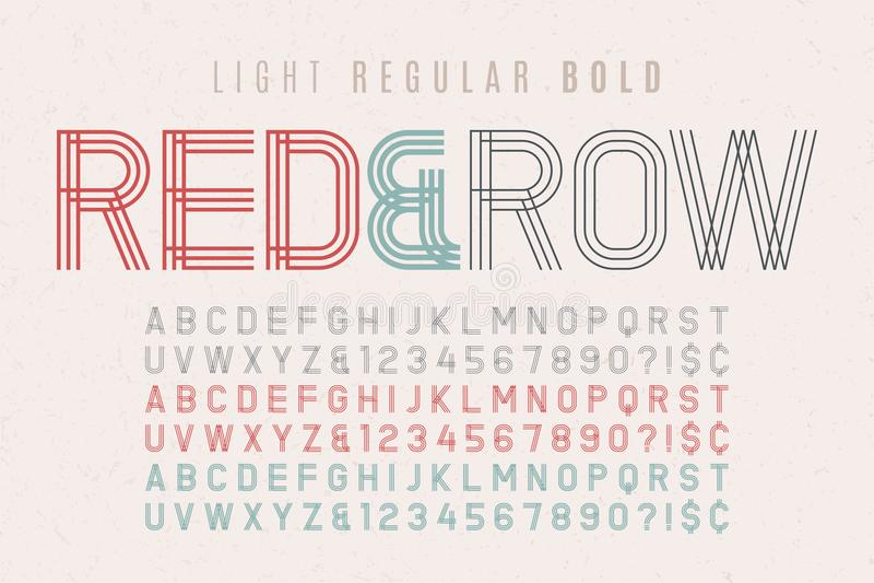 Decoratieve uitstekende lettersoort 3 in 1 Doopvont, lettersoort, typografie D royalty-vrije illustratie