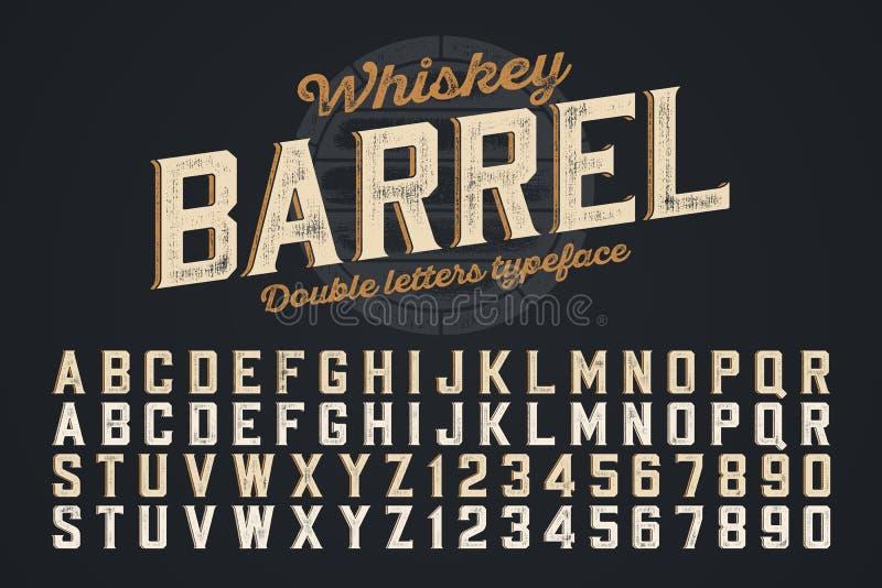 Decoratieve vector uitstekende lettersoort, dubbele brieven Het monster van de kleur stock illustratie