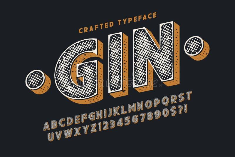 Decoratieve vector uitstekende lettersoort, letters en getallen vector illustratie