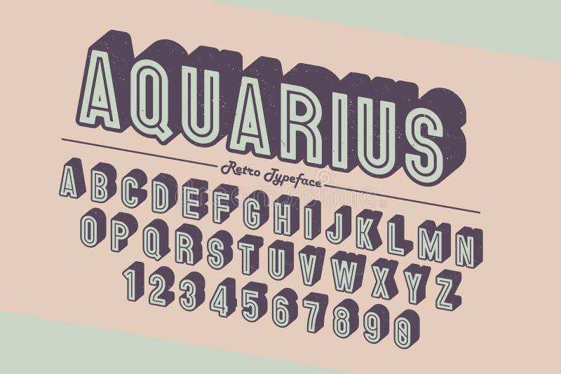 Decoratieve vector uitstekende retro lettersoort, doopvont, lettersoort stock illustratie