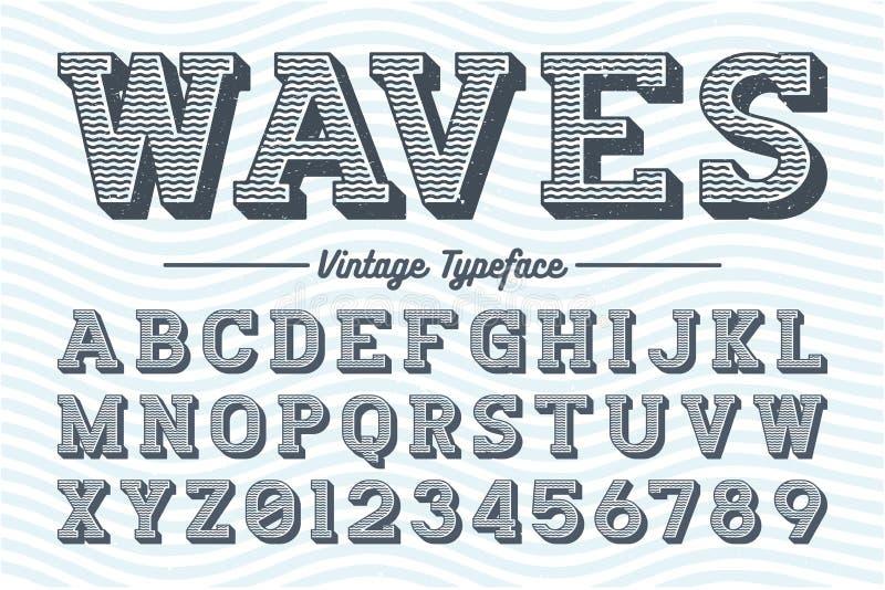 Decoratieve vector uitstekende retro lettersoort, doopvont vector illustratie
