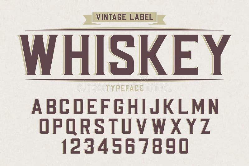 Decoratieve vector uitstekende retro lettersoort, doopvont, alfabetbrieven royalty-vrije illustratie