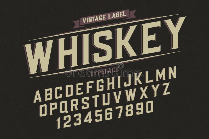 Decoratieve vector uitstekende retro lettersoort, doopvont, alfabetbrieven stock illustratie