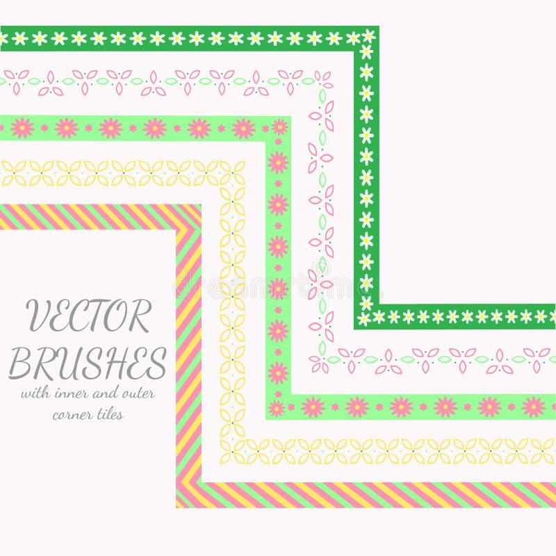 Decoratieve vectorborstels met binnen en buitenhoektegels royalty-vrije illustratie