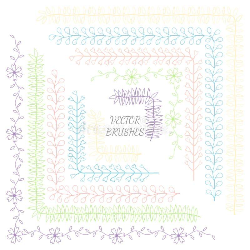 Decoratieve vectorborstels met binnen en buitenhoektegels Vector isoleer element Het malplaatje van het ontwerp Vakantie, artisti royalty-vrije illustratie